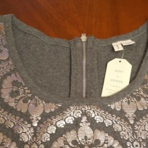 Anthropologie Tops - MOTH Anthropologie silver foil gray tee shirt B136